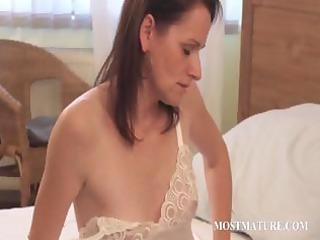 slender aged playing with hot assets