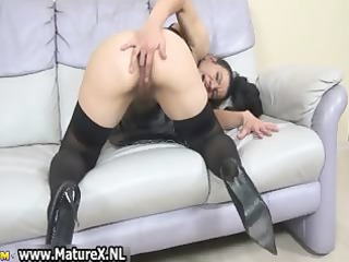 curly aged housewife likes finger