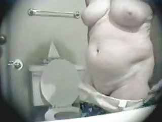granny changing in bathroom. hidden web camera