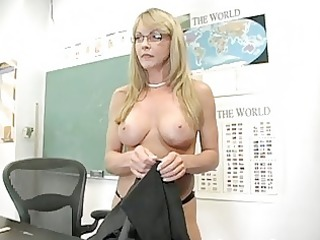 blond older teacher shows off her gracious