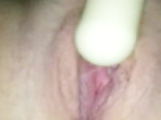 my wife playing with her toy and cumin on camera