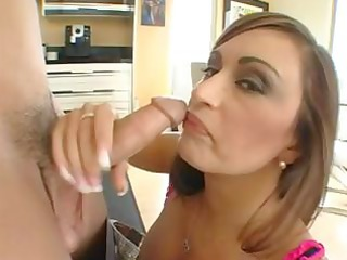 slutty brunette hair step mom eats his youthful