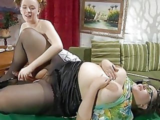 youthful and older dark brown lezzie fingering on