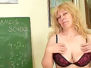 older golden-haired teacher with biggest tits