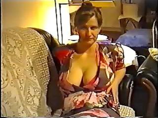 Wife flashing big tits in a bra
