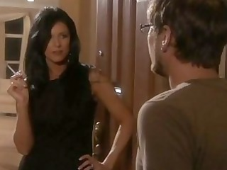 boy with glasses gets enticed by hawt brunette