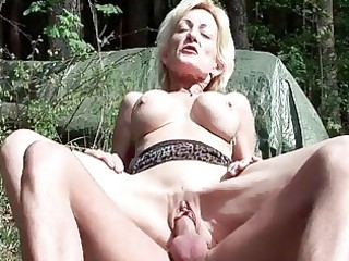 busty golden-haired granny receives fucked by a