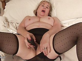 large breasted granny and her juicy muff