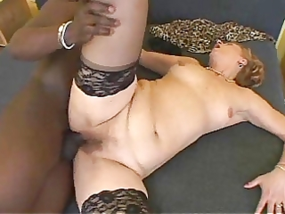 aged bushy sexy granny receives bbc pussy creampie