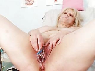 horny blond aged lady at gyno exam