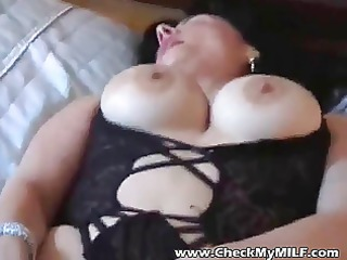 sexy non-professional milf in black stockings