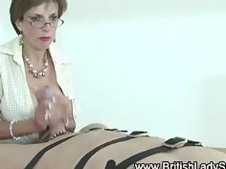 femdom older brit jerks off schlong