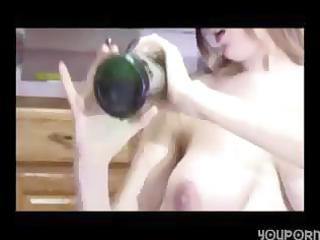 preggo wife with huge billibongs inserts a wine