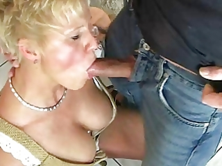 blond mommy enjoys beer and cum