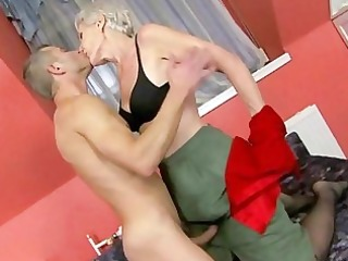 sexy granny enjoys sex with young chap