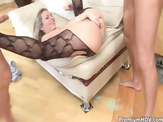 horny blond d like to fuck receives into a trio