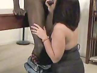 a hawt older in pantyhose takes a darksome ramrod