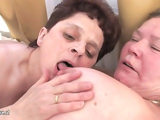 aged mothers share one youthful dick