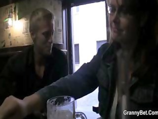 breasty aged receives picked uup in a bar and